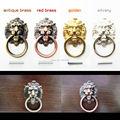 6Pcs Antique Brass Golden Vintage Bronze Metal Lion Head Furniture Door Cabinet Dresser Drawer Pull Handle Knob Ring