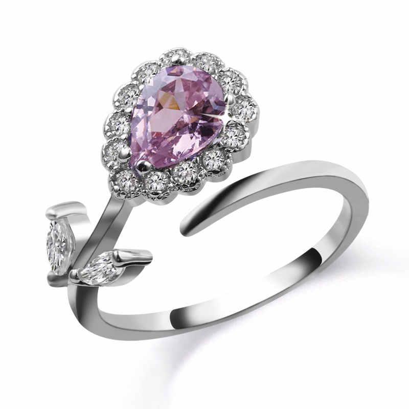 Anillo elegante de plata de la flor de la manera de 4 colores joyería de la boda de la CZ anillos ajustables con La Zirconia austríaco cúbico para las mujeres
