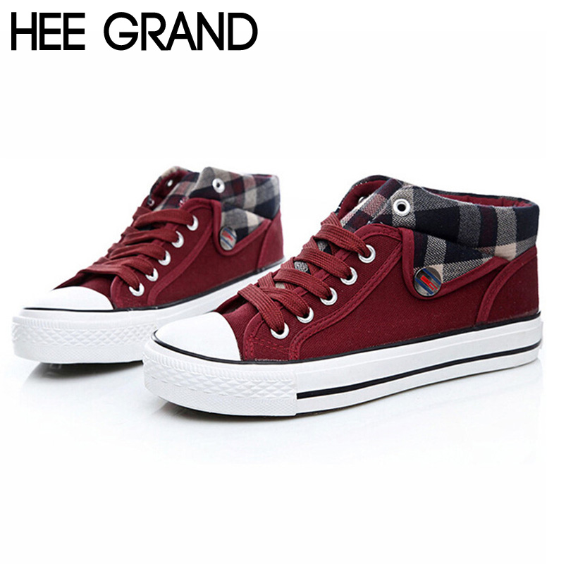 Womens Canvas Shoes High Wedge Platform Creeper Lace Up Sneakers Trainers 35-40