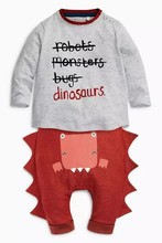 Retail 2016 New baby boy clothes Children autumn long sleeve tee shirt + dinosaur leisure suit baby boy