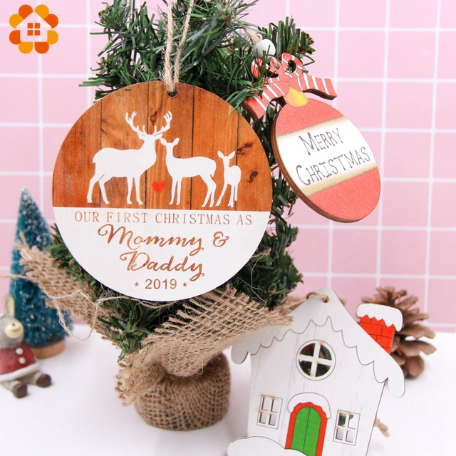 1PC Merry Christmas Ball Wooden Pendants Ornaments House Shape Home Wood Decor Xmas Tree Ornament For Christmas Party Decoration