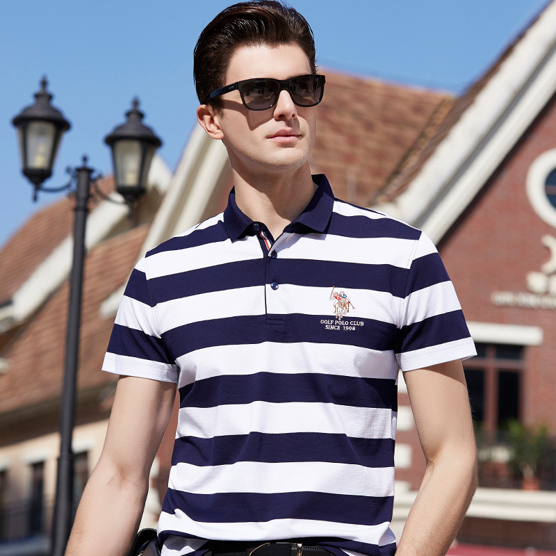 New Arrival 2018 Summer Mens Pure Cotton Striped   Polos   Shirts Short-sleeve Men's Casual Tops Tees Clothings Vestidos 88169