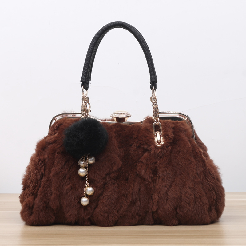 3033 New Fashion Autumn and Winter Female Rabbit Fur Bag Women handbag All-match Shoulder Bags Lady Messenger Bag black and white senior rabbit fur hat