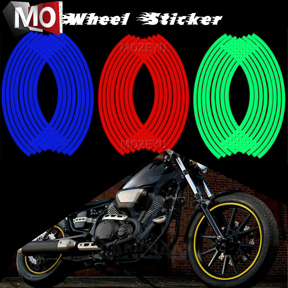 16 Strips Reflective Motocross Motorcycle Sticker Motorcycle Wheel Sticker For SUZUKI GSR 600 750 1000 GSR600 GSR750 GSR1000