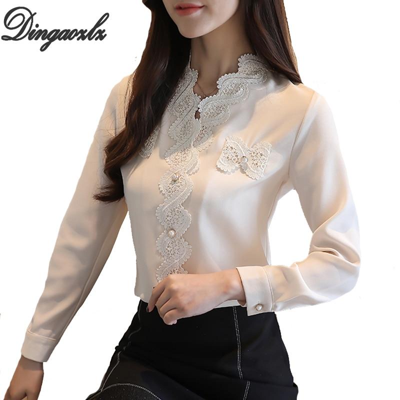 13f3a5255 Dingaozlz blusas femininas elegante Mulheres blusa Moda Chiffon camisa de manga  Longa Casual Tops de renda Branca camisa da senhora Do Escritório