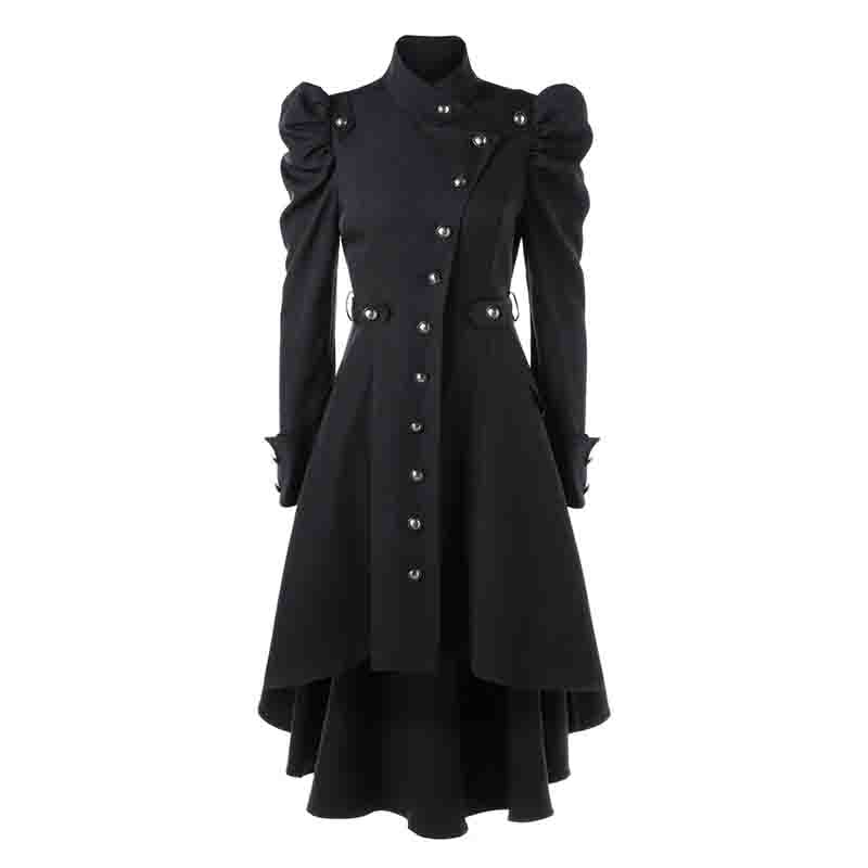 Gothic clothes Vintage   trench   coat for Women Steampunk Victorian Swallow Tail single breasted Long   Trench   high low elegant Coats