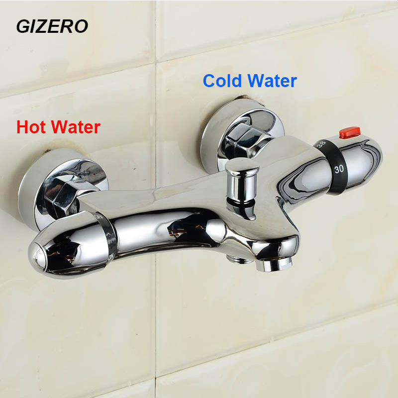 Wall Mounted Thermostatic Shower Faucet Bathtub Chrome Shower Mixer Dual Handle Copper Brass Thermostatic Valve Torneira ZR967 yanksmart wall mounted thermostatic faucet double handles faucet spout filler diverter chrome bathtub shower faucet valve mixer