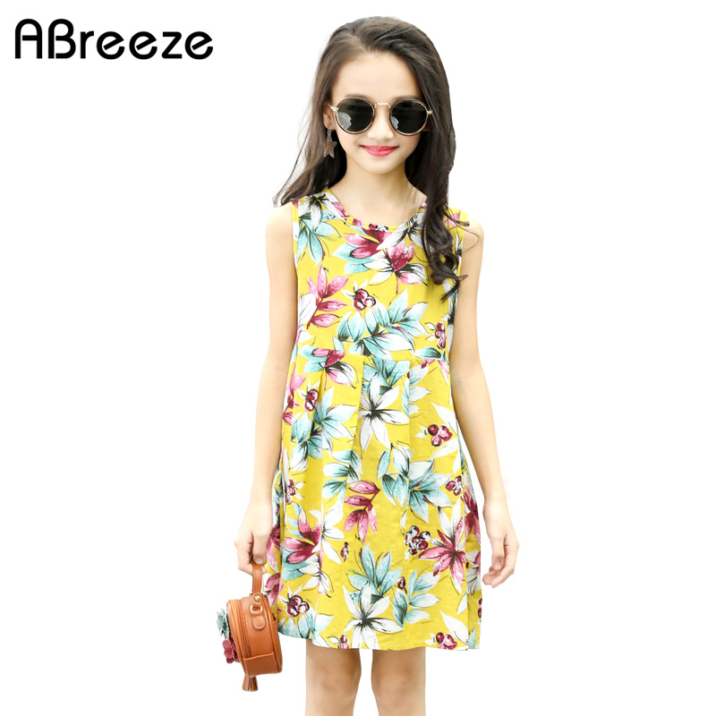 2018 New summer style girls clothing 2-12Y fashion floral dresses for girls cotton sleeveless children beach dresses girls new summer style girls dresses fashion knee length beach dresses for girls sleeveless bohemian children sundress girls yellow 3t