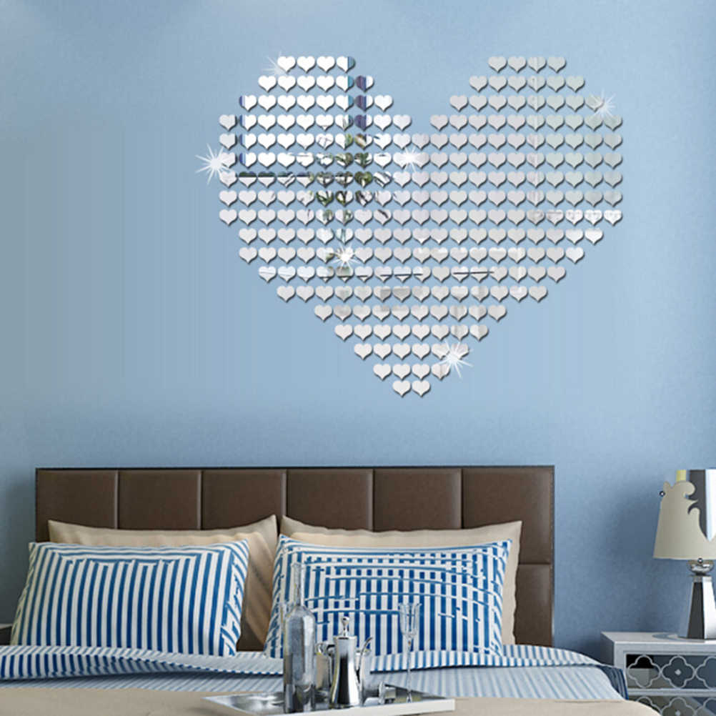100pcs 3D Heart Wall Sticker Self Adhensive Silver Gold Wall Stickers Acrylic Mirror Decals wallpaper for Home Decoration