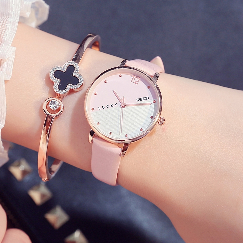 Étudiant personnalité bracelet en cuir fille chanceux grand cadran montre étanche montre dames montre-bracelet