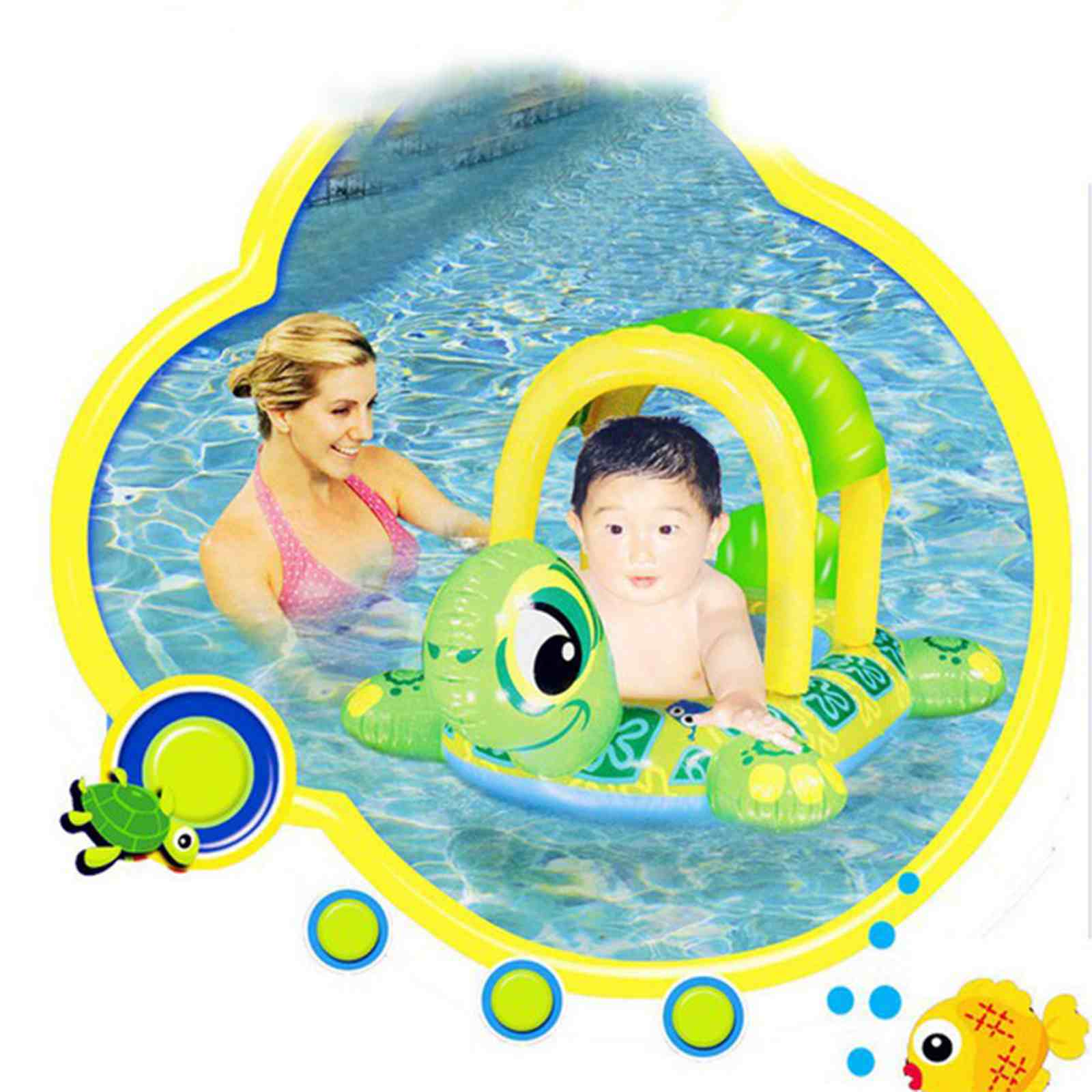 New Safety Inflatable Belt Water Pool Fun Sun Protection Umbrella Adjustable Sunshade Baby Swim Ring Float Seat Boat