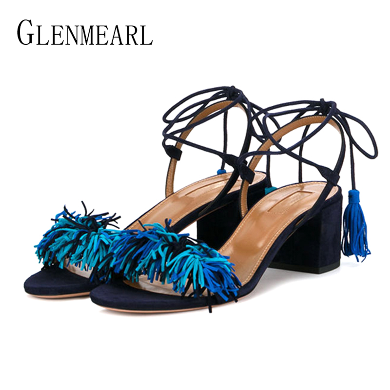Suede Women Summer Shoes High Heels Woman Sandals Genuine Leather Tassel Casual Shoes Female Ankle Strap Open Toes Thick HeelDE bicolor women high heels sandals thick platform shoes woman luxury summer party wedding shoes super sandal female open toes shoe