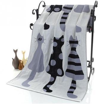 Słodki kociak bawełniany gaza kreskówka dorosły ręcznik kąpielowy tekstylia domowe duży ręcznik szlafrok Camping Sport ręcznik plażowy koc dziecięcy tanie i dobre opinie HOUSEEN Zwykły Bath Towel Other Tkane ROLL 15 s-20 s 300g Cartoon 100 bawełna Drukowane