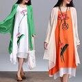 2 unidades arte literario retro 2017 de primavera y verano mujeres del estilo folk dress algodón de lino flojo ocasional del o-cuello de trabajo vestidos de diseños