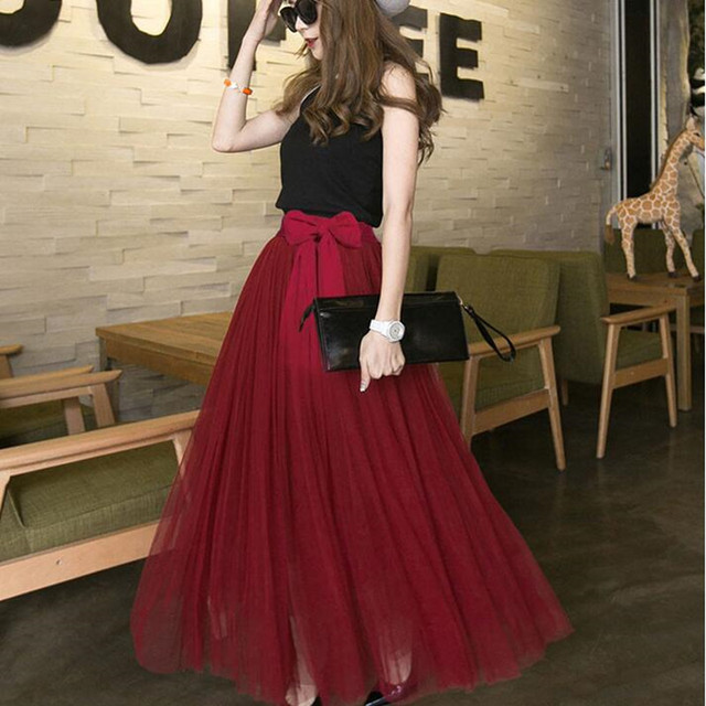 2017 New Spring Summer Stylish Fashion Womens Ladies High Waist Long Tulle Mesh Skirts Party Bowknot Casual One Size Q1654