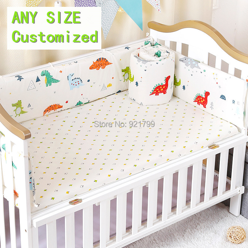 100% Cotton Baby Bed Bumpers Baby Crib Protector Cartoon Cot Bumpers Crib For Newborns M ...