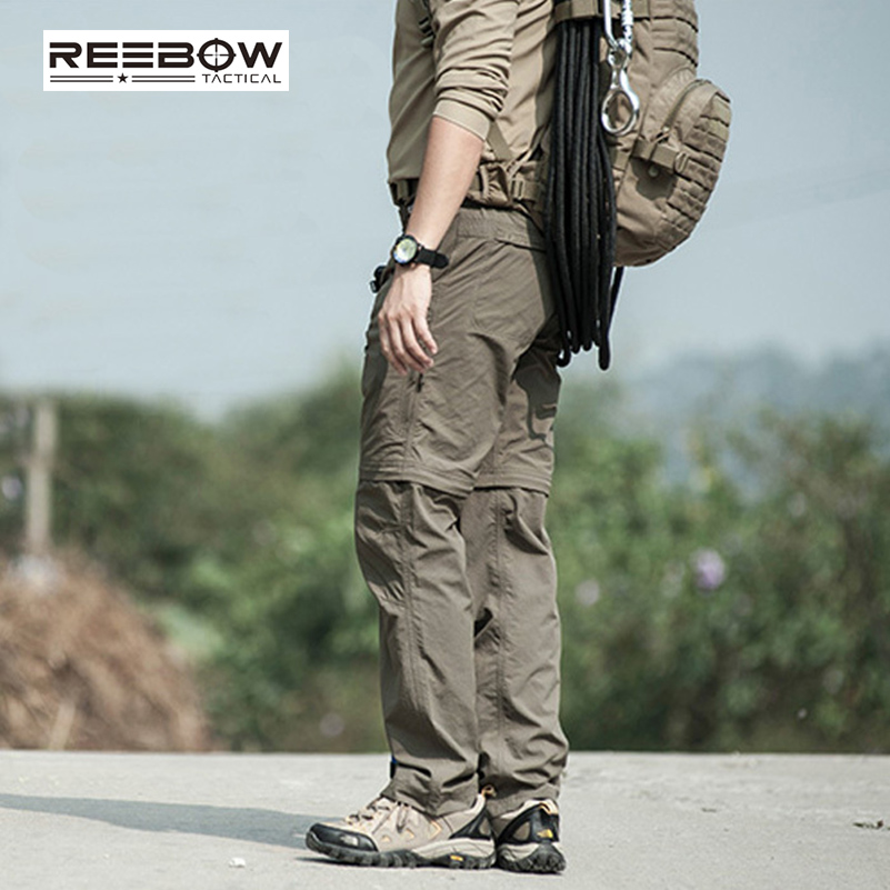 REEBOW TACTICAL Military Outdoor Assault Cargo Pants Detachable Multi-pockets Quick-dry CORDURA Teflon Waterproof Trousers reebow tactical men plus size cargo pants outdoor sports running loose fatty trousers 4xl 5xl 6xl max 135cm waist 140kg