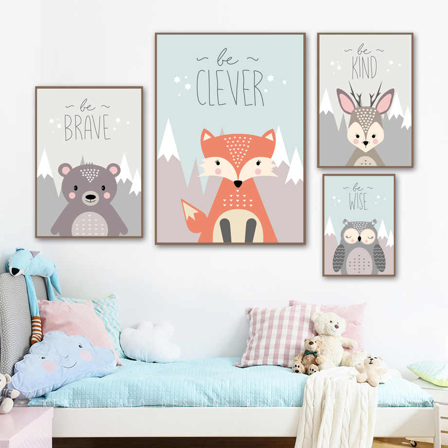 Cartoon Fox Bear Deer Owl Quotes Wall Art Canvas Painting Nordic Posters And Prints Animal Wall Pictures Kids Room Bedroom Decor
