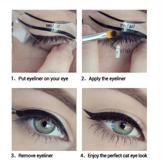 2pcs Pro Eyeliner Stencils Winged Eyeliner Stencil Models Template Shaping Tools Eyebrows Template Card Eye Shadow Makeup Tool 1