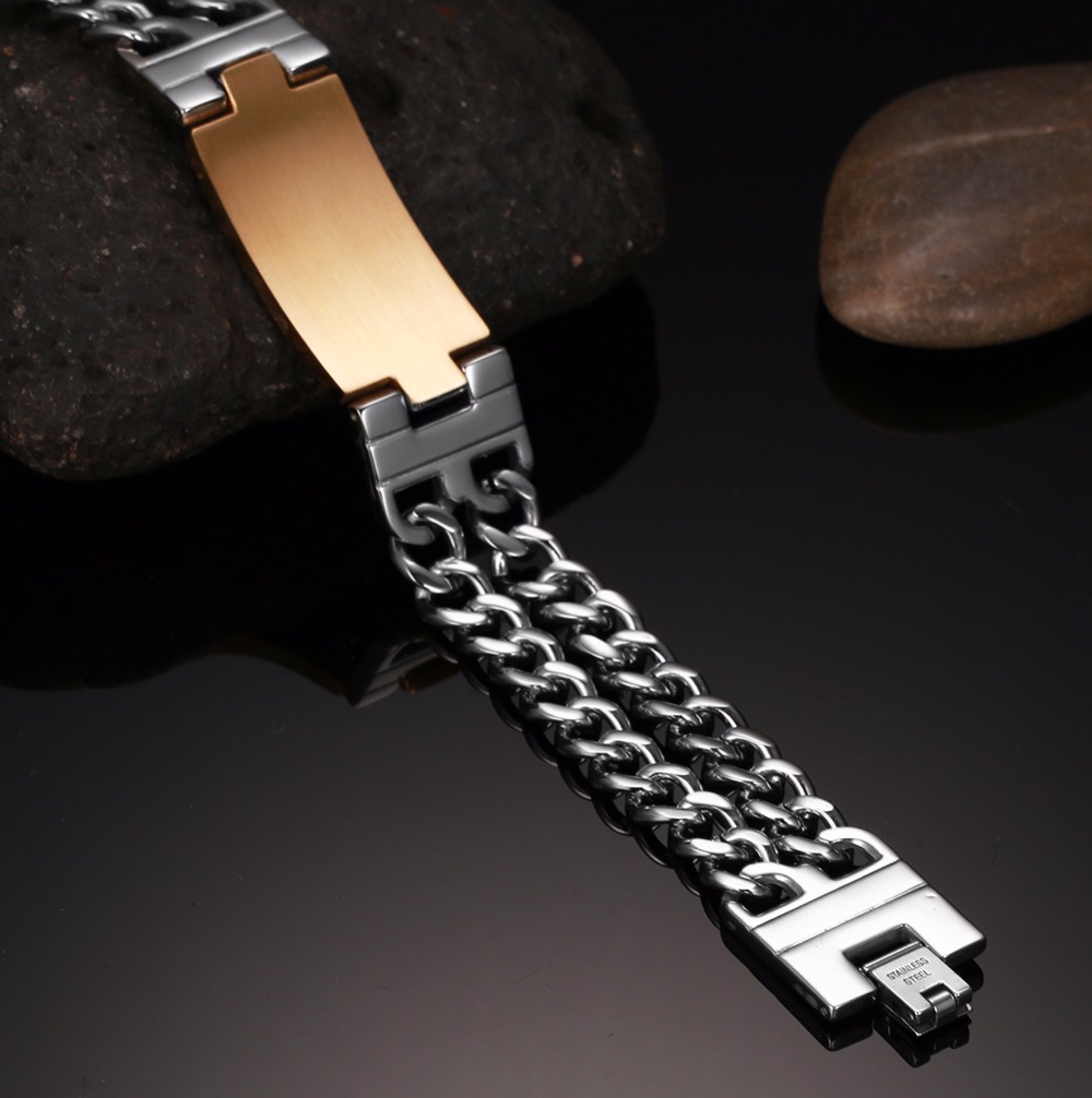 Bracelets & Bangles Customized Engraving Unisex Stainless Steel Matte Finished Plain Curb Chain Id Identification Bracelets Retro Gray Grade Products According To Quality Chain & Link Bracelets