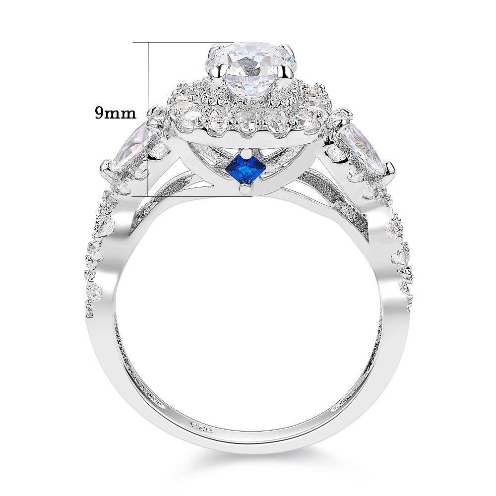 2 Pcs 1.5 Ct Round Pear Cut AAA CZ Halo 925 Sterling Silver Wedding Rings