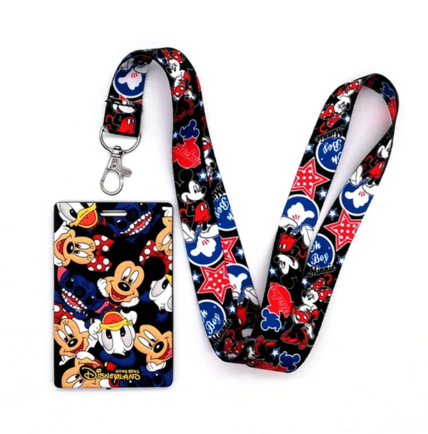 1 Pcs  Soft Silicone Cartoon Mickey Minnie   Sign Card ID Holder  With Hanging String Keychain T-2