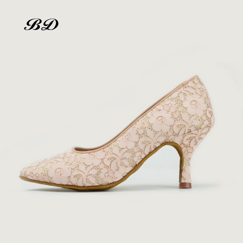 WOMAN SHOE Top Dance Shoes Ballroom Women Latin Shoes No Shoelace BD 104-B Pearl White Flower Mesh High Heels BDDANCE SALSA NEW запонки nina ricci nr 09060 9