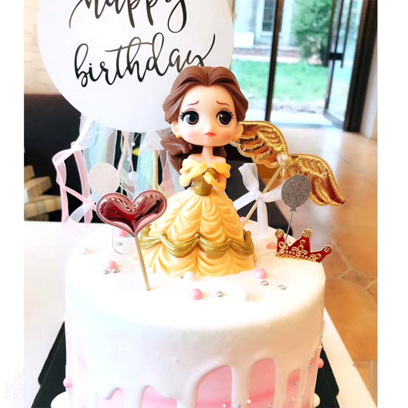 Image 3 - Cake Decoration Figure Snow white Princess Glitter Sliver Gold Happy Birthday CastleCake toppers for kids birthday Party Decor-in Cake Decorating Supplies from Home & Garden