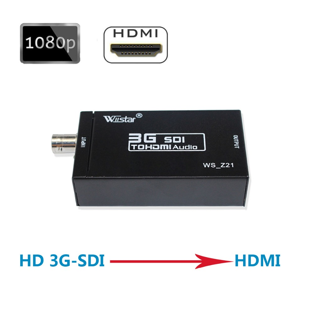 Wiistar SDI Converter SDI to HDMI Audio Video Converter BNC to HDMI Adapter Support HD 3G SDI Full HD 1080P High Quality ekl sdi to hdmi 720p 1080p adapter video converter