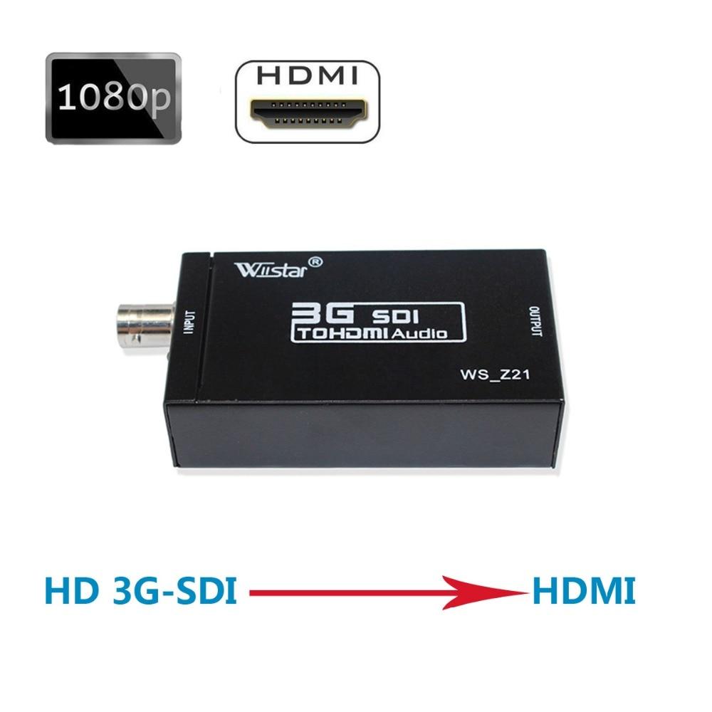 Wiistar SDI Convertisseur SDI vers HDMI Audio Vidéo Convertisseur BNC à HDMI Adaptateur Soutien HD 3G SDI Full HD 1080 P Haute Qualité