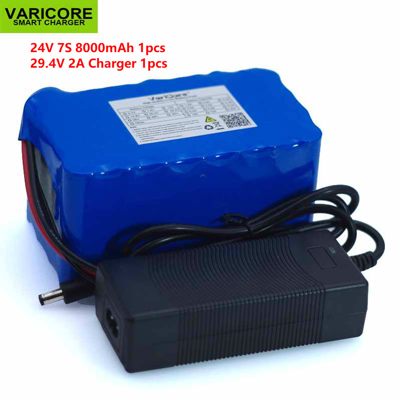 24V 8Ah 7S4P 18650 Battery li-ion battery 29.4v 8000mAh electric bicycle moped /electric battery pack with BMS +2A Charger 24v e bike battery 8ah 500w with 29 4v 2a charger lithium battery built in 30a bms electric bicycle battery 24v free shipping