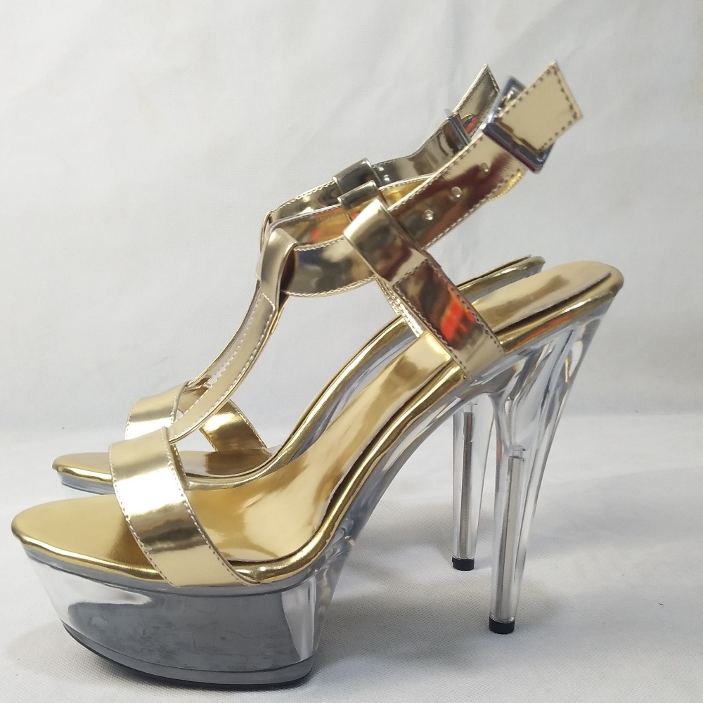 Los 17 Ultra Pulgadas Sandalias De 6 Cm oro Cristal Zapatos Altos Negro plataforma Brillante Tacones wXxPPpq