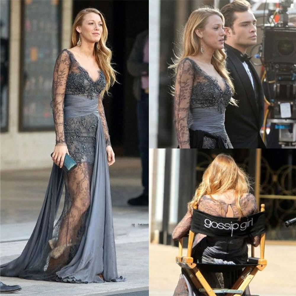 Fashion-New-V-neck-Gossip-Girl-Blake-Lively-Zuhair-Murad-font-b-Long-b-font-font
