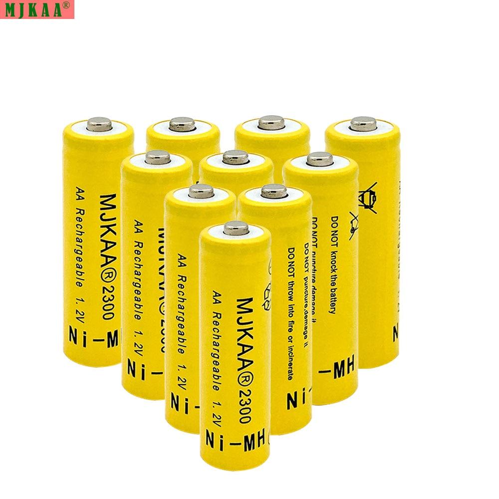 MJKAA 10pcs 1.2V Ni-MH AA 2300mAh Rechargeable Battery 2A Neutral Battery Rechargeable battery AA batteries For toys camera