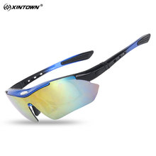 XINTOWN Polarized Sports Men Sunglasses Road Cycling Glasses Mountain Bike Bicycle Riding Protection Goggles Eyewear 5 Lens