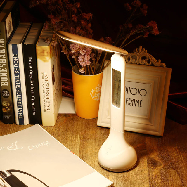 Foldable Dimmable charging LED Table Lamp Touch Sensitive Desk Lamps with Temperature Alarm Clock And Living Colors Changing