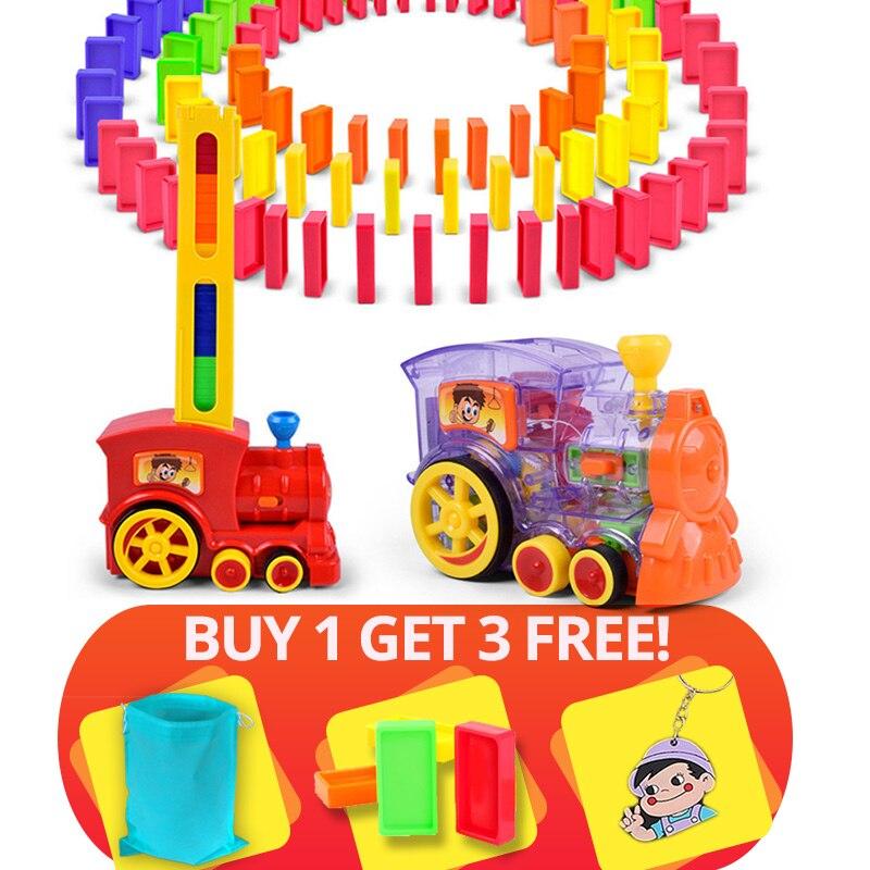 22 cm Domino Zug Auto modell Spielzeug automatische Sets Up 60 stücke Bunte Domino blöcke spiel mit Last Patrone spielzeug geschenk für mädchen junge