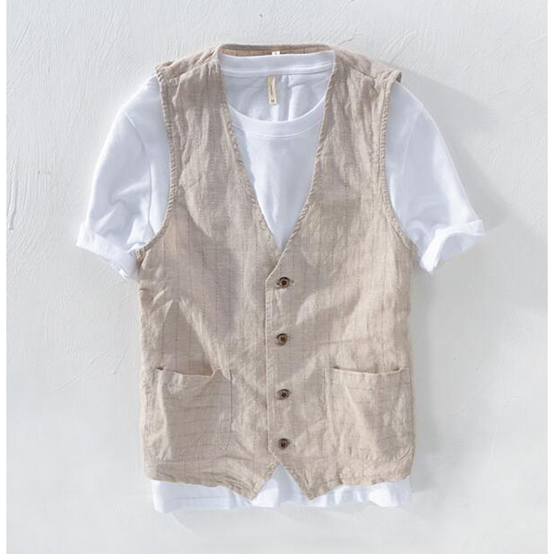 Summer Linen Vest Thin Vest Men Casual Sleeveless Jacket Stripe Waistcoat Male Clothing Leisure Suits Plus Size S- 5XL 6XL