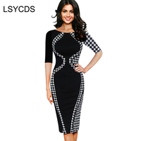 Spring Brief Style Dresses For Women Vintage Patchwork O Neck Half Sleeve Work Office Wear Woman