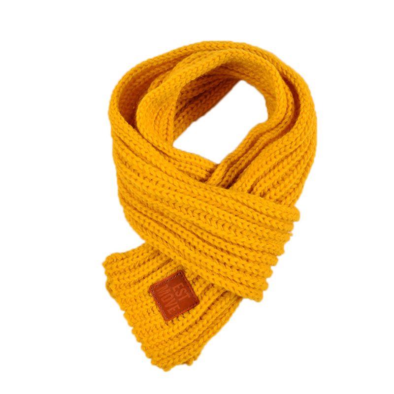 Детский вязаный шарф из акрилового волокна для мальчиков и девочек, плотная зимняя теплая шаль для шеи, шарфы с резиновыми буквами - Цвет: Цвет: желтый
