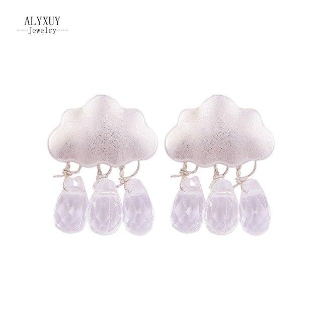 Yeni Moda aksesuarları takı Bulut su damlası kristal İnci dangle küpe hediye kadın kız için E2560