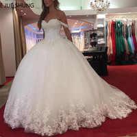 E JUE SHUNG Weiß Spitze Appliques Ballkleid Hochzeit Kleider 2020 Schatz Perlen Prinzessin Braut Kleider robe de mariee