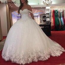 E JUE SHUNG beyaz dantel aplikler balo gelinlik 2020 sevgiliye boncuklu prenses gelin elbiseler robe de mariee