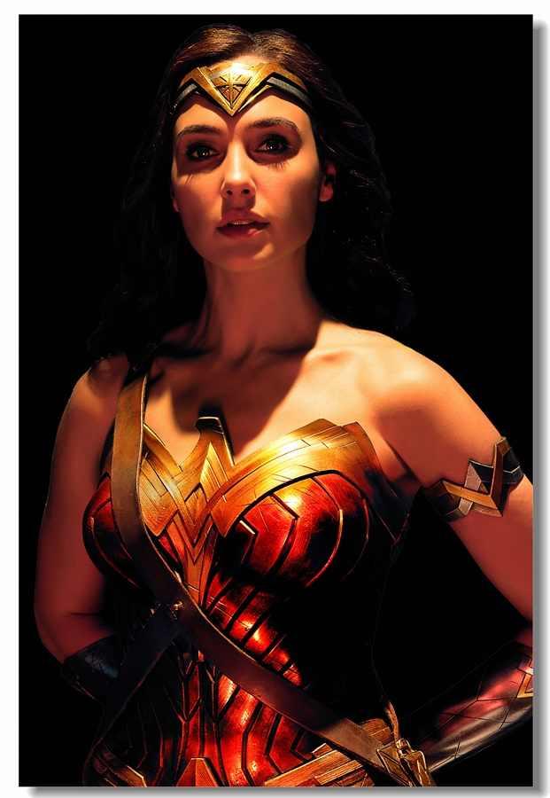 Custom Canvas Wall Decorations Sexy Gal Gadot Wonder Woman Poster Wonder Woman Decal Justice League Sticker Dc Wallpaper 0039