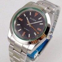 40mm Bliger Logo Saaphire Glas Zeit Uhr herren Uhr Schwarz Zifferblatt Poliert Lünette MIYOTA 8215 Automatische Bewegung-in Mechanische Uhren aus Uhren bei