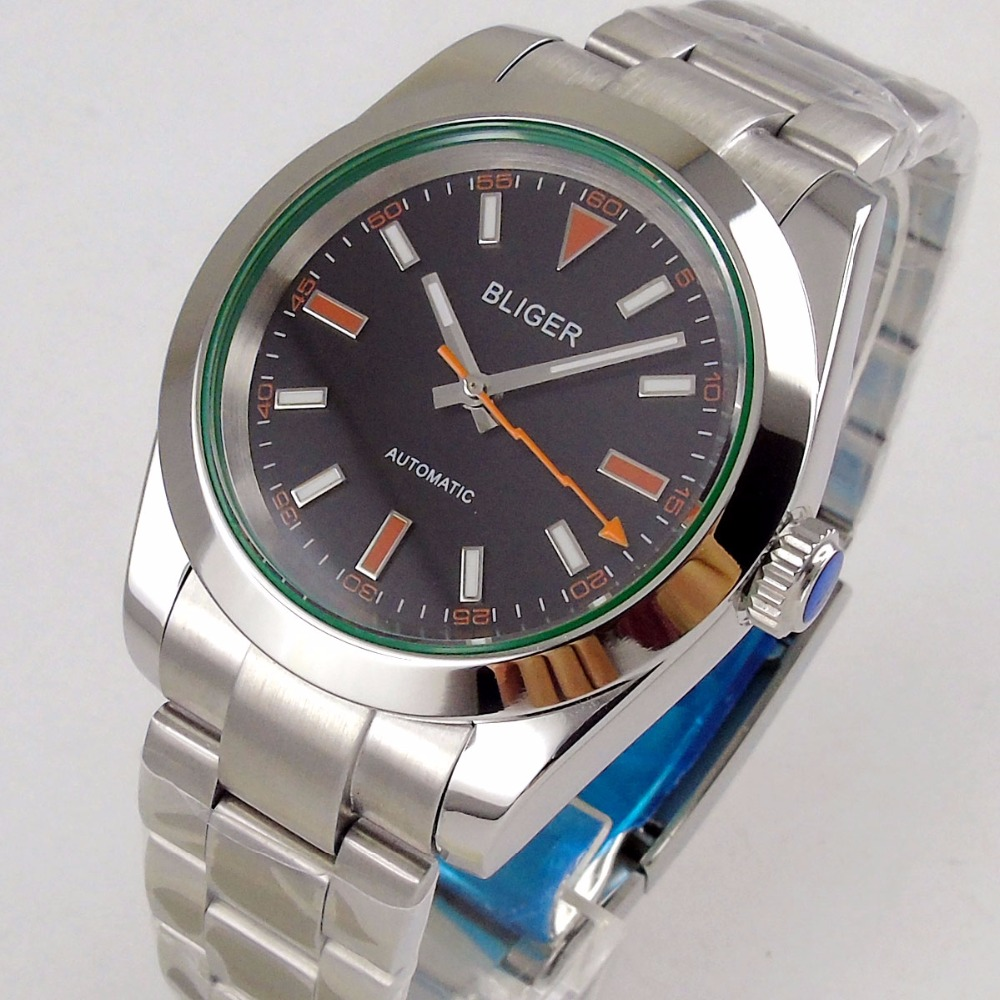 40mm Bliger Logo Saaphire Glass Time Watch Men's Watch Black Dial Polished Bezel MIYOTA 8215 Automatic Movement