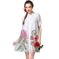 NEW Fashion Cute Printing Design Flowers Shirt Style Double Layer Mesh Pregnant Woman Dress White