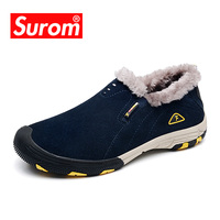 SUROM Brand Real Leather Mens Winter Snow Boots Outdoor Warm Men Shoes Casual