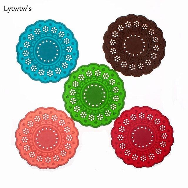 Bộ 1 miếng dán bàn ăn placemat Coaster phụ kiện nhà bếp Thảm cốc thanh cốc Hoa uống miếng lót bát doilies