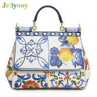 Top Quality Women Original Genuine Leather Handbags Luxury Print Women Bags Designer Garden Party Bags Brand Lady Tote Bags Sacs